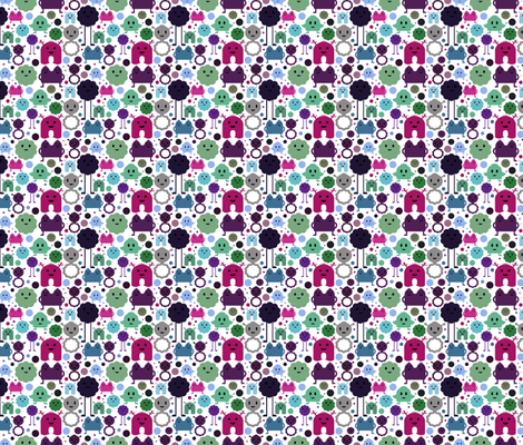 Monsters On the Loose - Pinks, Greens and Blues - teeny fabric by jesseesuem on Spoonflower - custom fabric