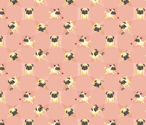 Pugs! (Pink) fabric by jaana on Spoonflower - custom fabric