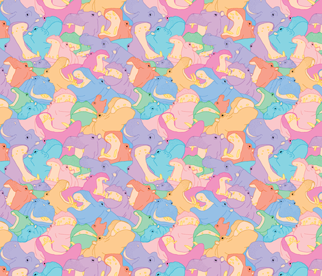 Laughing Hippos - Pastel fabric by hippopottermiss on Spoonflower - custom fabric