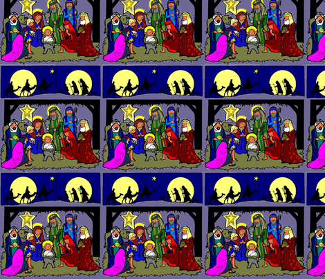 Nativity Scene with Traveling Kings & Shepherds (purp bg) fabric by rengal on Spoonflower - custom fabric