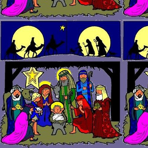 Nativity Scene with Traveling Kings & Shepherds (purp bg)