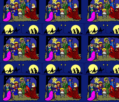 Nativity Scene with Traveling Kings & Shepherds (blue bg) fabric by rengal on Spoonflower - custom fabric