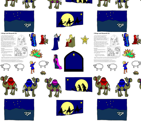 Nativity Kings and Shepherds Set fabric by rengal on Spoonflower - custom fabric