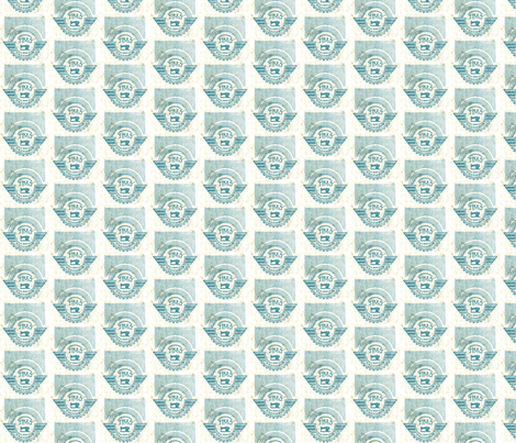 Blue and white Soviet Sewing Machine fabric by tinet on Spoonflower - custom fabric