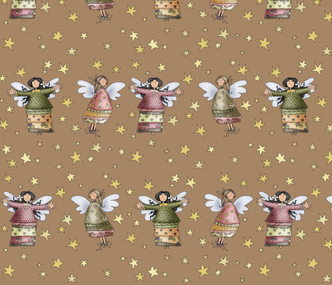 Sweet Angels - in brown fabric by catru on Spoonflower - custom fabric