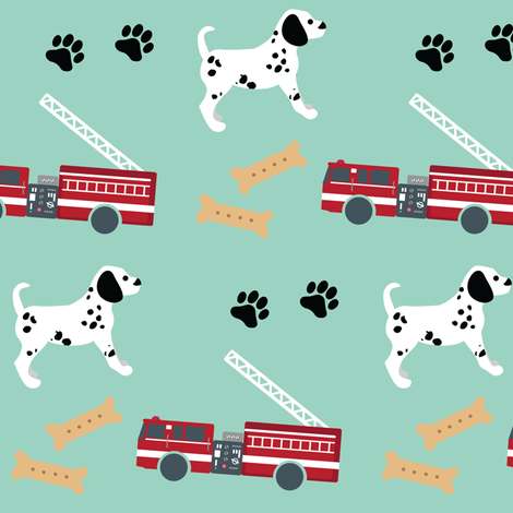 Fire Trucks and Dalmatian Puppies fabric by greencouchstudio on Spoonflower - custom fabric