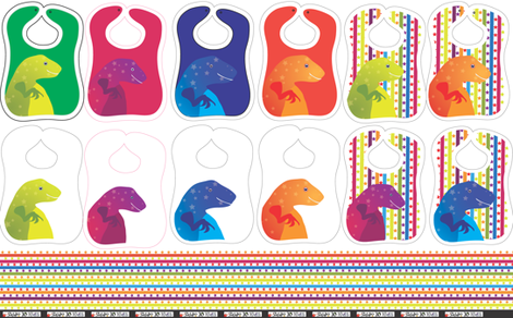 Dinosaur bibs cut and sew kit fabric by mainsail_studio on Spoonflower - custom fabric