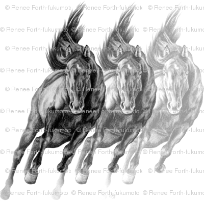 Triple Galloping Horses Art