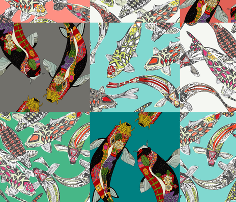 koi squares fabric by scrummy on Spoonflower - custom fabric