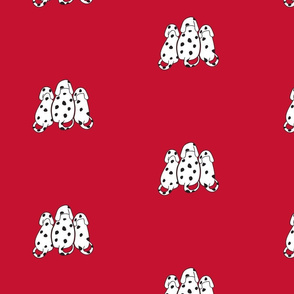 Dalmatians on red