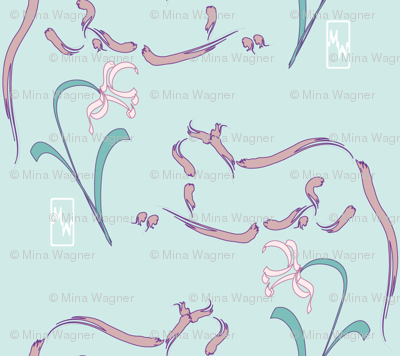 Cats & flowers fabric - pink on seafoam