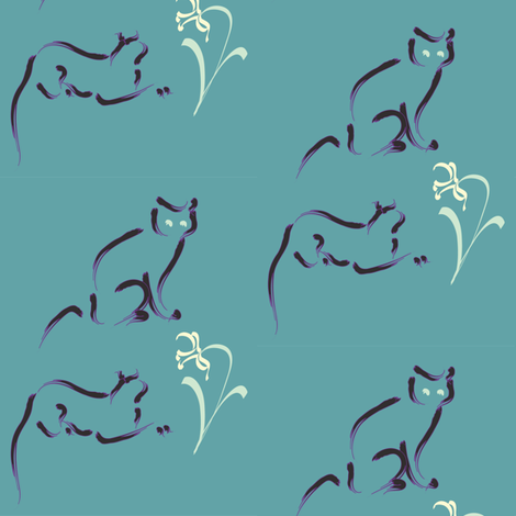 2 cats & flowers TEAL fabric by mina on Spoonflower - custom fabric