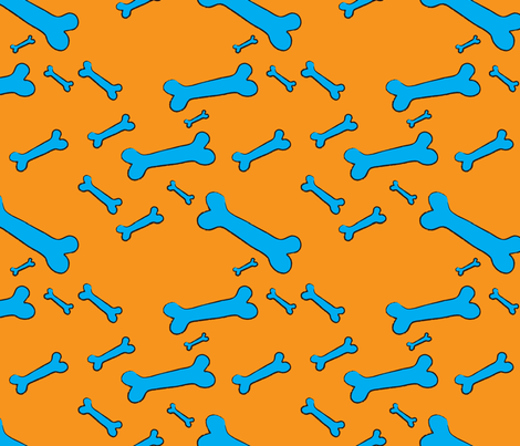 Pop Bones - orange fabric by majobv on Spoonflower - custom fabric