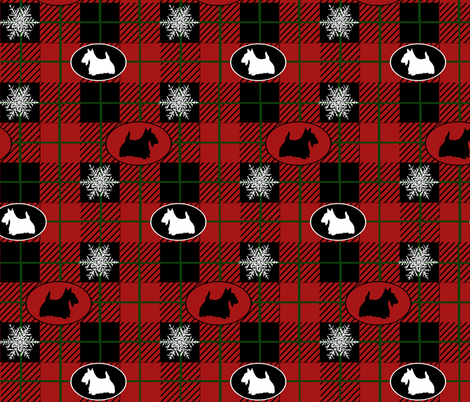 Snow and Scotties fabric by poetryqn on Spoonflower - custom fabric