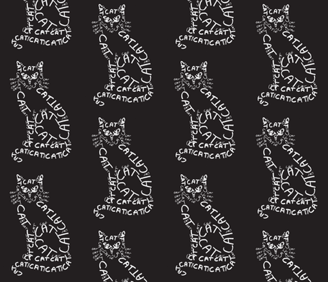 Cat Calligram fabric by blue_jacaranda on Spoonflower - custom fabric