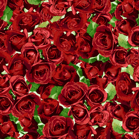 Abundant Roses - Red fabric by inscribed_here on Spoonflower - custom fabric