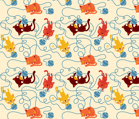 Cats keep the ball rolling fabric by bora on Spoonflower - custom fabric