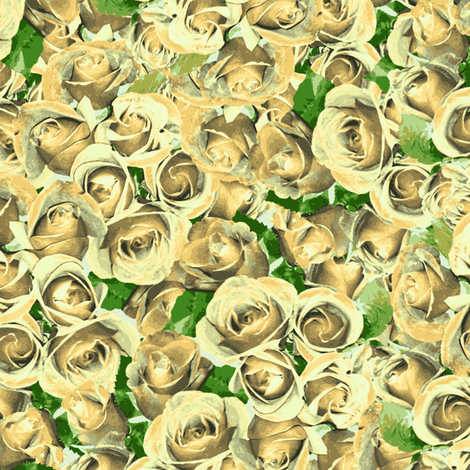 Abundant Roses - Antique Cream fabric by inscribed_here on Spoonflower - custom fabric