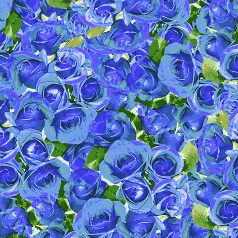 Abundant Roses - Lavender Blue fabric by inscribed_here on Spoonflower - custom fabric