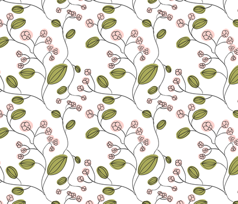 Pink flowers fabric by suziedesign on Spoonflower - custom fabric