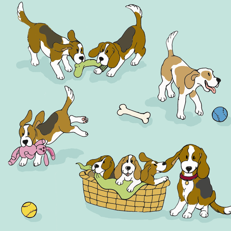 Beagle 'Dog-Ma' fabric by hauteideas on Spoonflower - custom fabric