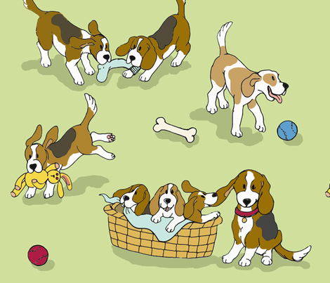 Beagle 'Dog-Ma' (green) fabric by hauteideas on Spoonflower - custom fabric