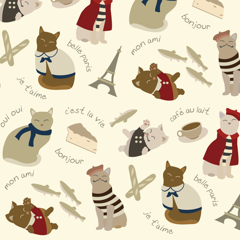 (Medium) French Cats in Paris fabric by greencouchstudio on Spoonflower - custom fabric