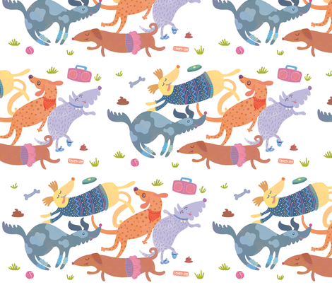 Doggie Boogie fabric by teken-ing on Spoonflower - custom fabric