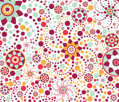 Serendipity Flowers & Dots fabric by kamiekazee on Spoonflower - custom fabric