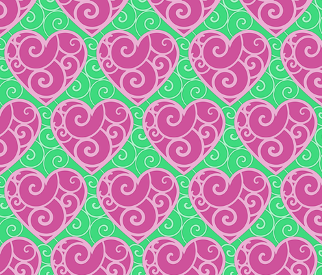 Pink Hearts 1 fabric by shala on Spoonflower - custom fabric