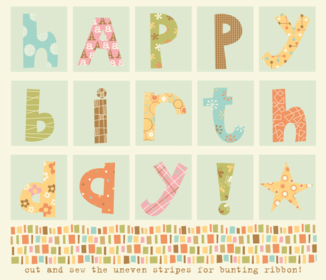 Happy Birthday bunting fabric by amel24 on Spoonflower - custom fabric
