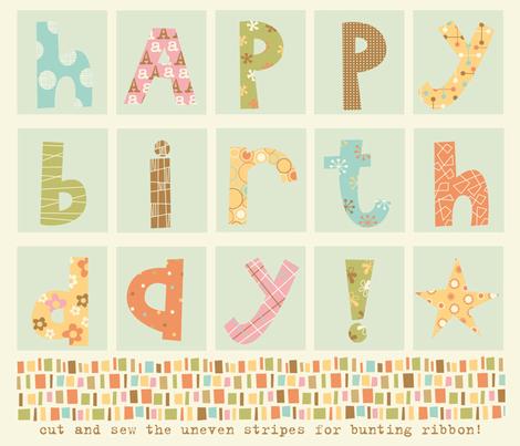 Happy Birthday bunting fabric by amel24 on Spoonflower - custom fabric