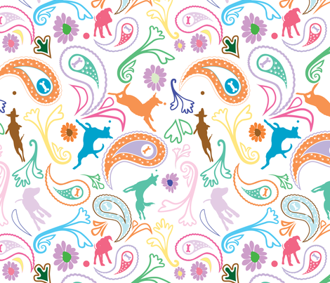 Paisley Dog Color fabric by richardrainbolt on Spoonflower - custom fabric