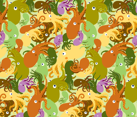 OctoPaisley-GreenTea-Sea fabric by natashad on Spoonflower - custom fabric
