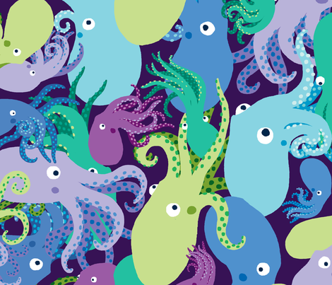 OctoPaisley-DeepLights-Sea fabric by natashad on Spoonflower - custom fabric