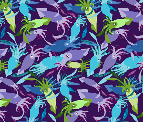 Squid-DeepLights-Sea fabric by natashad on Spoonflower - custom fabric