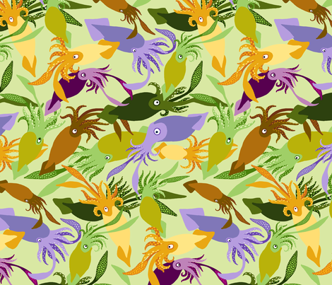 Squid-GreenTea-Sea fabric by natashad on Spoonflower - custom fabric