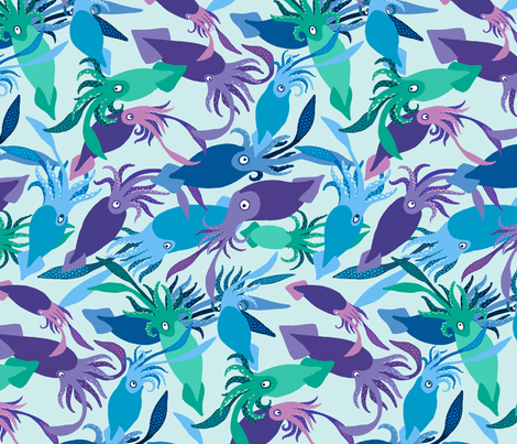 Squid-IceShallows-Sea fabric by natashad on Spoonflower - custom fabric