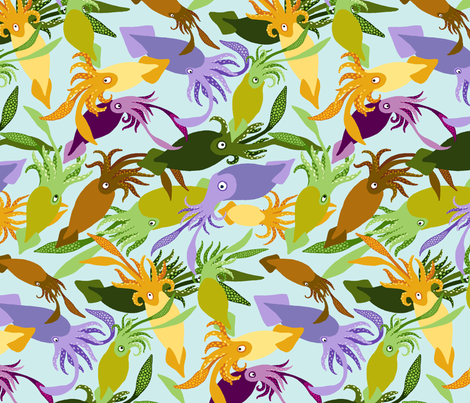 Squid-Shallows-Sea fabric by natashad on Spoonflower - custom fabric