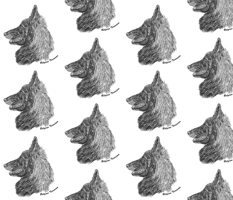 Belgian Tervuren sketch - black/white fabric by rusticcorgi on Spoonflower - custom fabric