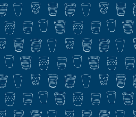 Design Crafty Blue Cups fabric  fabric by designcrafty on Spoonflower - custom fabric