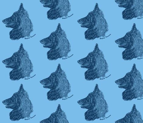 Belgian Tervuren sketch - Navy/sky blue