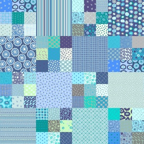 Blue 9-patch patchwork Cheater cloth