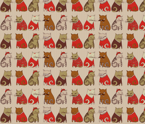 Sweater Cats  fabric by papersparrow on Spoonflower - custom fabric