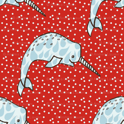 Narwhal Love - Red Dots