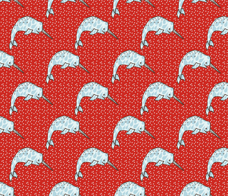 Narwhal Love - Red Dots fabric by papersparrow on Spoonflower - custom fabric