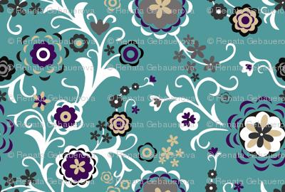 Modern Folk Flowers Turquoise Major