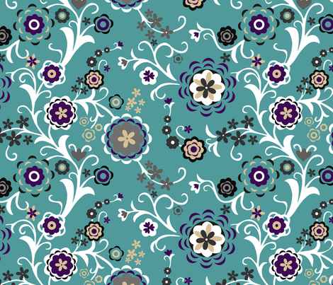 Modern Folk Flowers Turquoise Major fabric by renule on Spoonflower - custom fabric