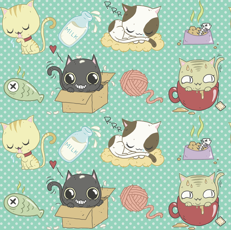 Cats! fabric by yukittenme on Spoonflower - custom fabric