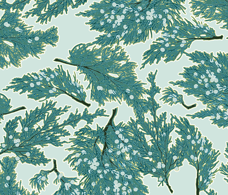 Juniper Berries in Blue fabric by anntuck on Spoonflower - custom fabric